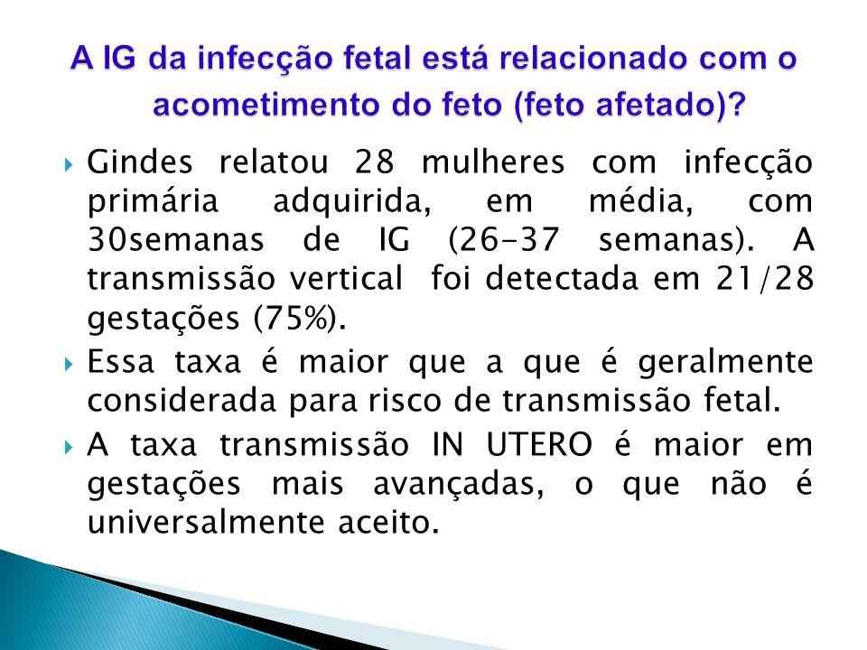 Gindes relatou 28 mulheres com infecção primária adquirida, em média, com 30semanas de IG (26-37 semanas). A transmissão vertical foi detectada em 21/