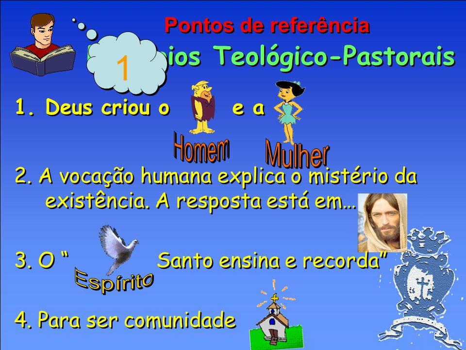 Pontos de referência Princípios Teológico-Pastorais 1.Deus criou o e a 2.