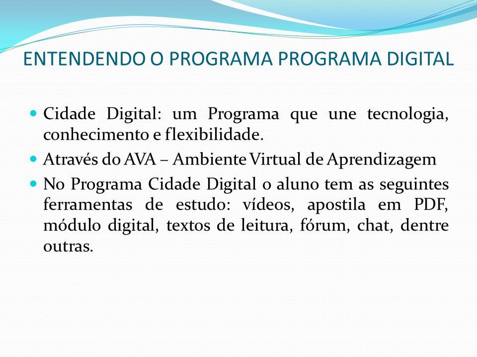 ENTENDENDO O PROGRAMA PROGRAMA DIGITAL Cidade Digital: um Programa que une tecnologia, conhecimento e flexibilidade. Através do AVA – Ambiente Virtual