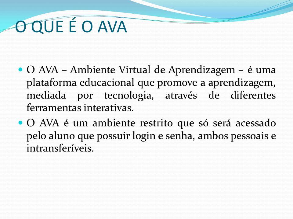 O QUE É O AVA O AVA – Ambiente Virtual de Aprendizagem – é uma plataforma educacional que promove a aprendizagem, mediada por tecnologia, através de d