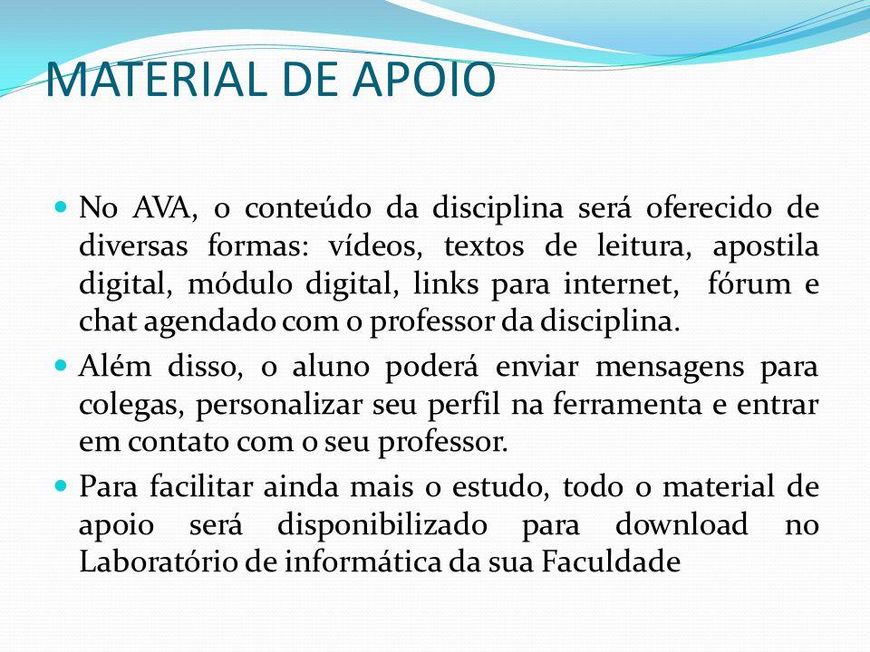 MATERIAL DE APOIO No AVA, o conteúdo da disciplina será oferecido de diversas formas: vídeos, textos de leitura, apostila digital, módulo digital, lin