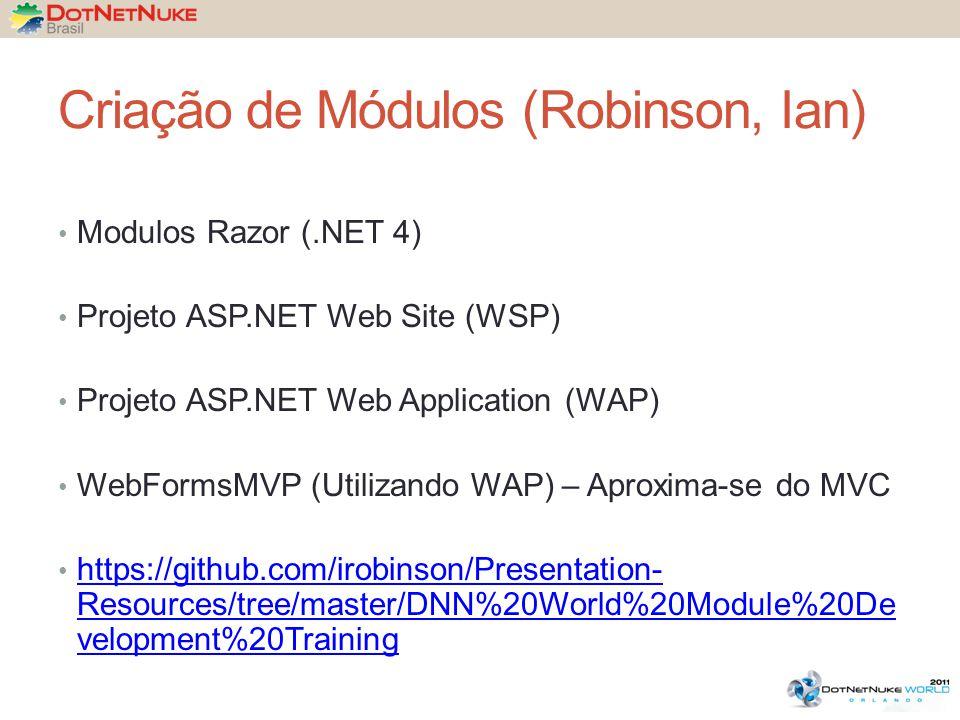 Criação de Módulos (Robinson, Ian) Modulos Razor (.NET 4) Projeto ASP.NET Web Site (WSP) Projeto ASP.NET Web Application (WAP) WebFormsMVP (Utilizando