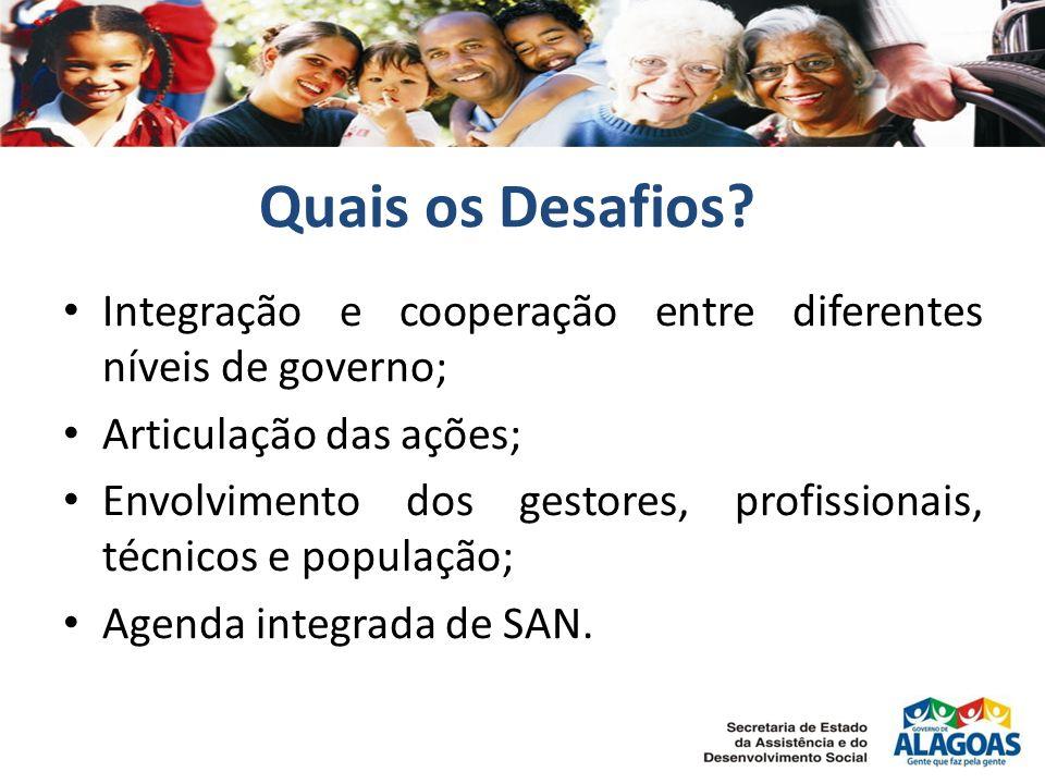 Quais os Desafios? Integração e cooperação entre diferentes níveis de governo; Articulação das ações; Envolvimento dos gestores, profissionais, técnic