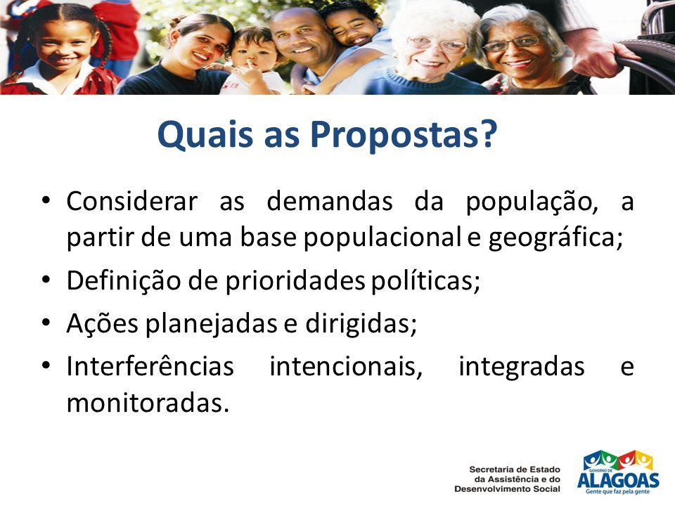 Quais as Propostas? Considerar as demandas da população, a partir de uma base populacional e geográfica; Definição de prioridades políticas; Ações pla