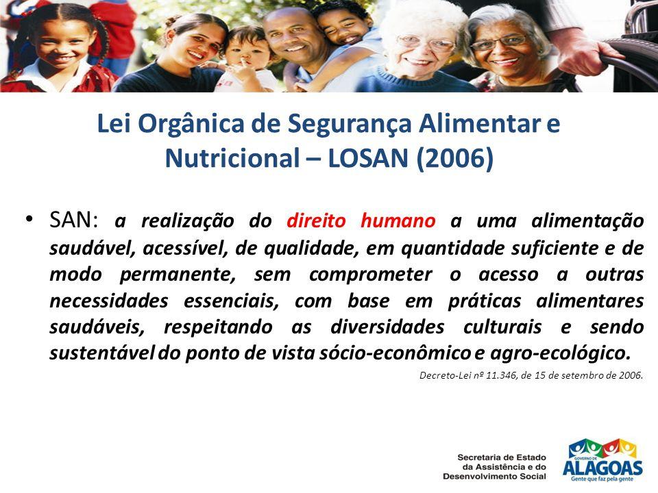 Lei Orgânica de Segurança Alimentar e Nutricional – LOSAN (2006) SAN: a realização do direito humano a uma alimentação saudável, acessível, de qualidade, em quantidade suficiente e de modo permanente, sem comprometer o acesso a outras necessidades essenciais, com base em práticas alimentares saudáveis, respeitando as diversidades culturais e sendo sustentável do ponto de vista sócio-econômico e agro-ecológico.