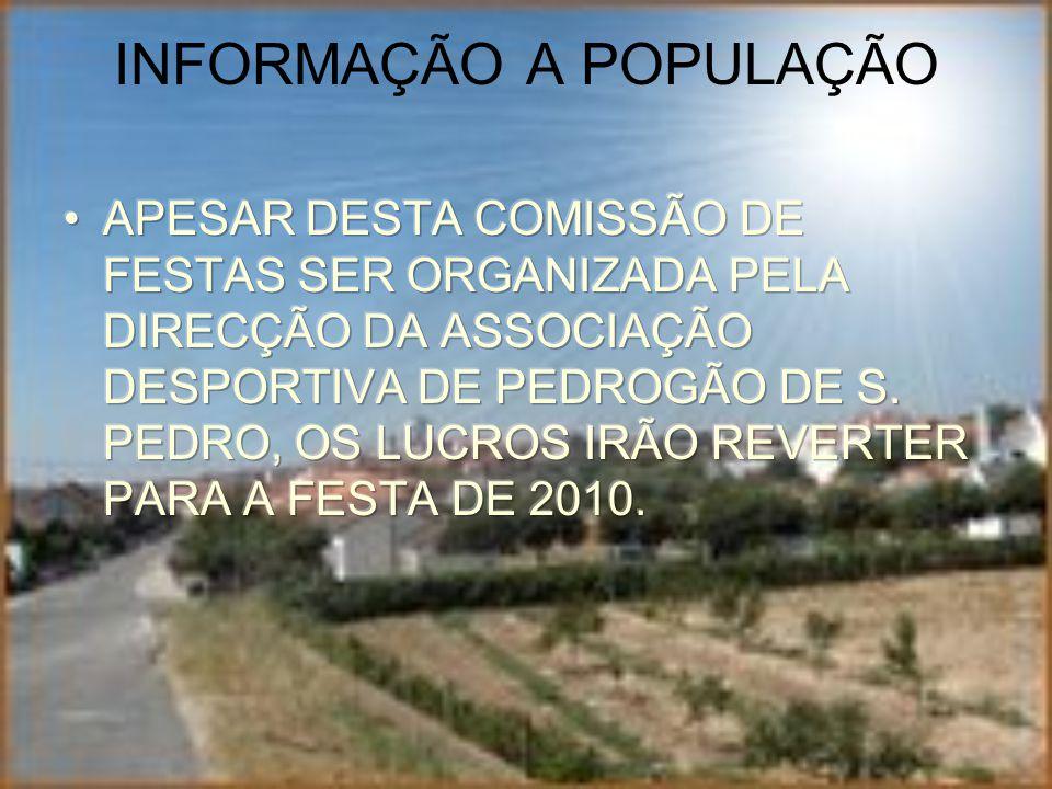 INFORMAÇÃO A POPULAÇÃO