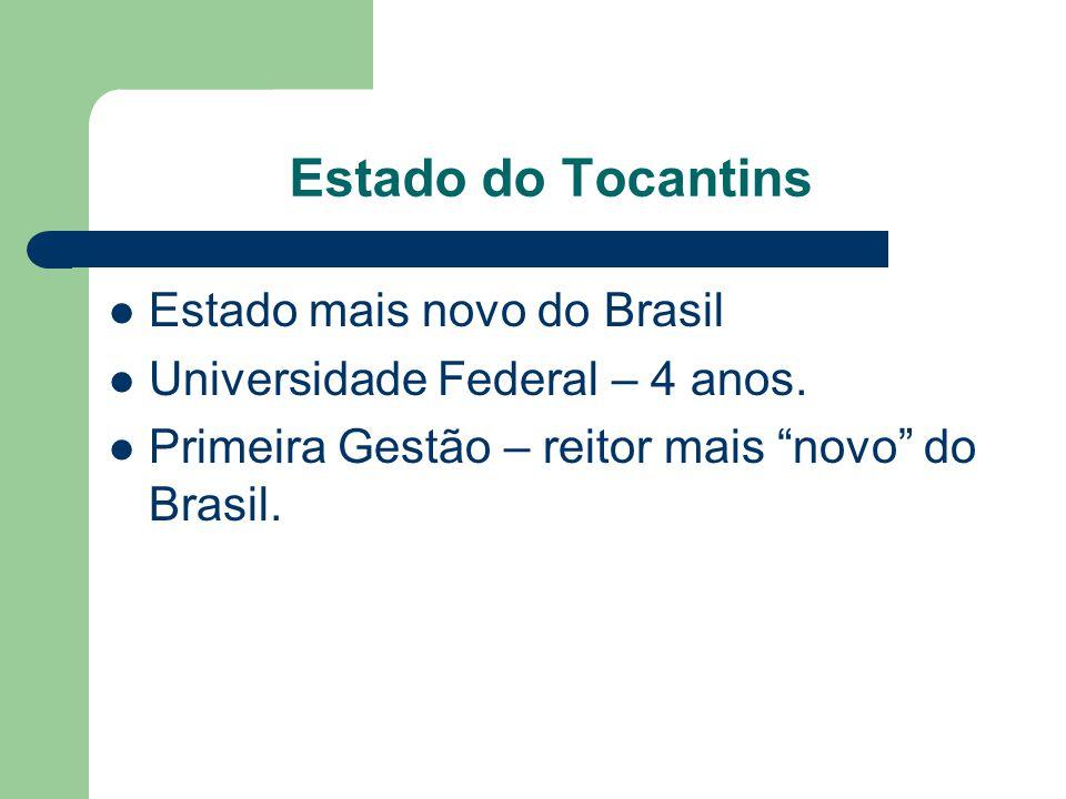 Estado do Tocantins Estado mais novo do Brasil Universidade Federal – 4 anos. Primeira Gestão – reitor mais novo do Brasil.