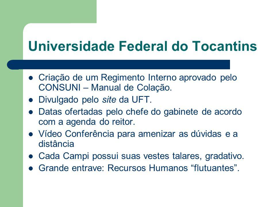 Universidade Federal do Tocantins Criação de um Regimento Interno aprovado pelo CONSUNI – Manual de Colação. Divulgado pelo site da UFT. Datas ofertad
