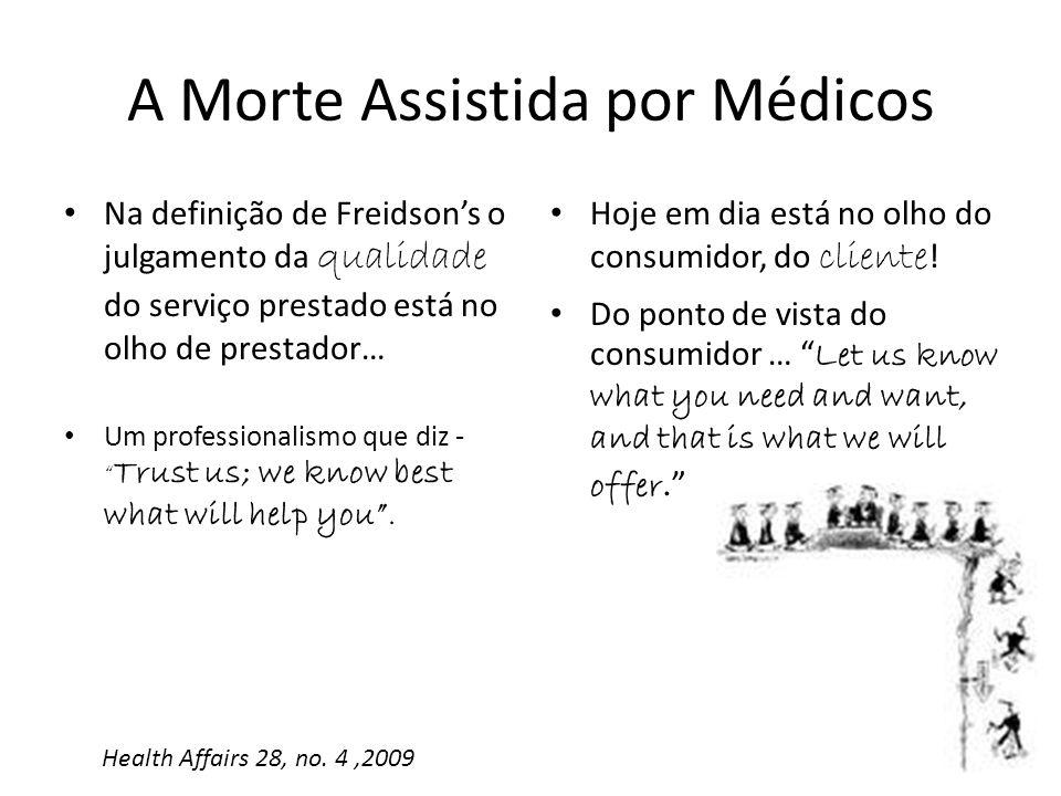 Na definição de Freidsons o julgamento da qualidade do serviço prestado está no olho de prestador… Um professionalismo que diz - Trust us; we know bes