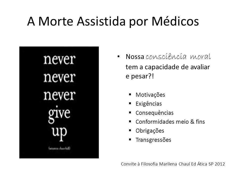 A Morte Assistida por Médicos Nossa consciência moral tem a capacidade de avaliar e pesar?! Motivações Exigências Consequências Conformidades meio & f