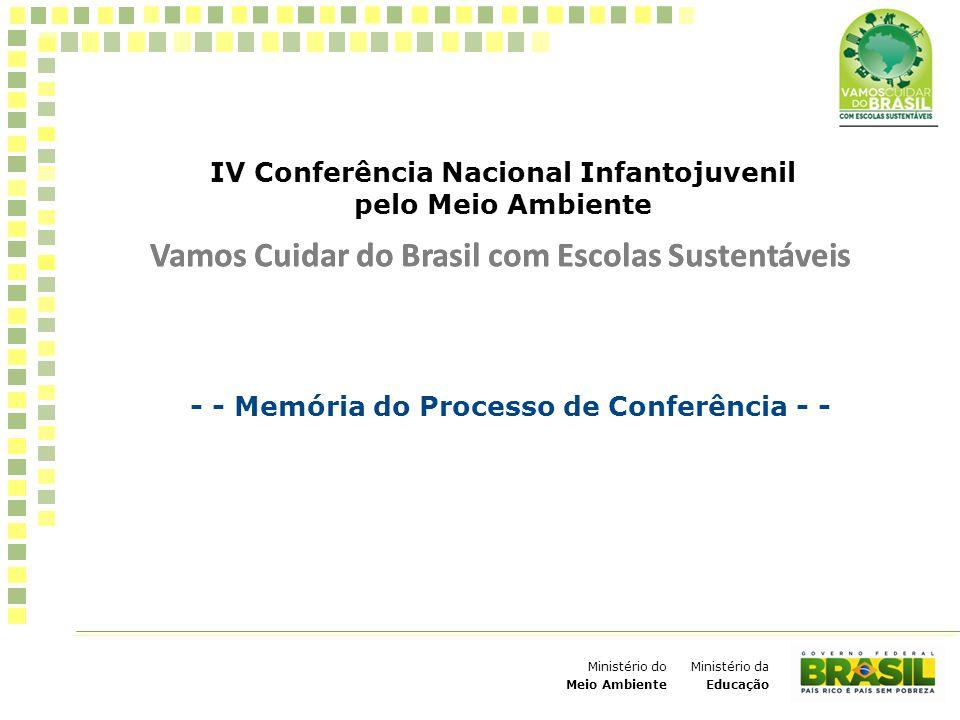 IV Conferência Nacional Infantojuvenil pelo Meio Ambiente Vamos Cuidar do Brasil com Escolas Sustentáveis 1 Ministério da Educação Ministério do Meio