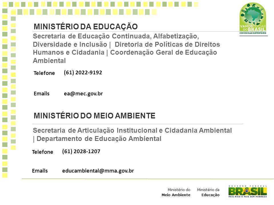 Ministério da Educação Ministério do Meio Ambiente Secretaria de Educação Continuada, Alfabetização, Diversidade e Inclusão | Diretoria de Políticas d