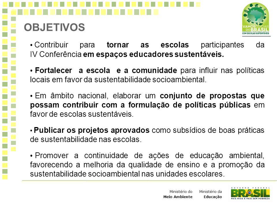 Ministério da Educação Ministério do Meio Ambiente Contribuir para tornar as escolas participantes da IV Conferência em espaços educadores sustentávei