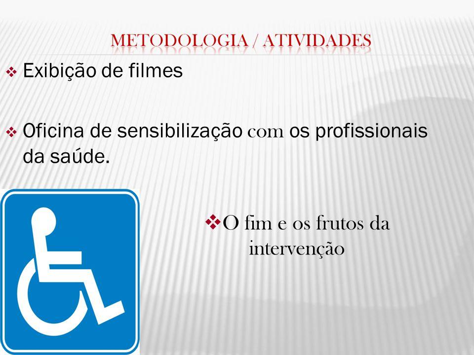 Exibição de filmes Oficina de sensibilização com os profissionais da saúde. O fim e os frutos da intervenção