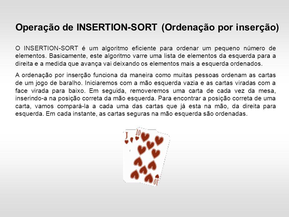 O INSERTION-SORT é um algoritmo eficiente para ordenar um pequeno número de elementos.