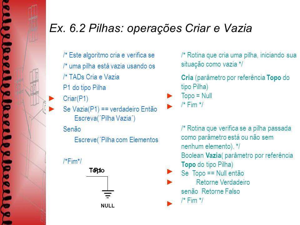 Ex. 6.2 Pilhas: operações Criar e Vazia /* Este algoritmo cria e verifica se /* uma pilha está vazia usando os /* TADs Cria e Vazia P1 do tipo Pilha C