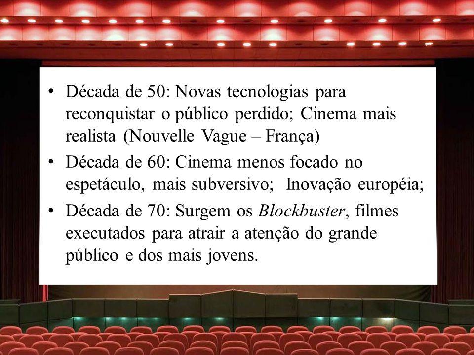 Década de 50: Novas tecnologias para reconquistar o público perdido; Cinema mais realista (Nouvelle Vague – França) Década de 60: Cinema menos focado