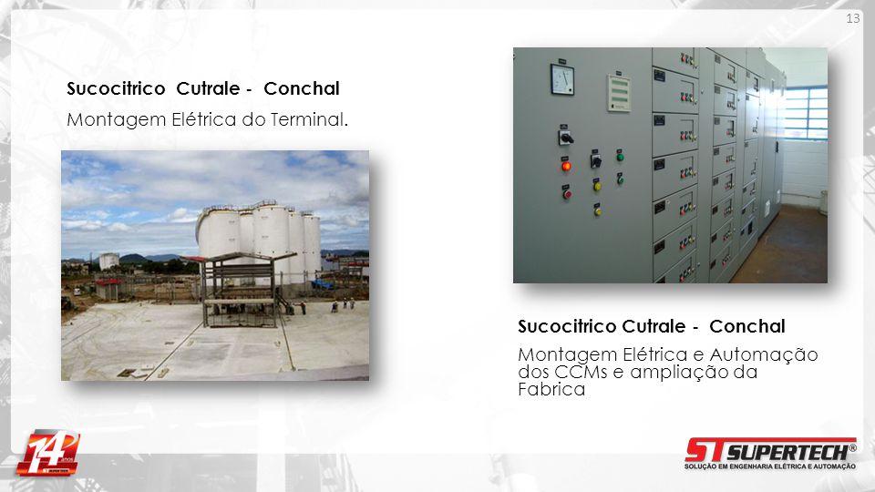Sucocitrico Cutrale - Conchal Montagem Elétrica do Terminal. 13 Sucocitrico Cutrale - Conchal Montagem Elétrica e Automação dos CCMs e ampliação da Fa