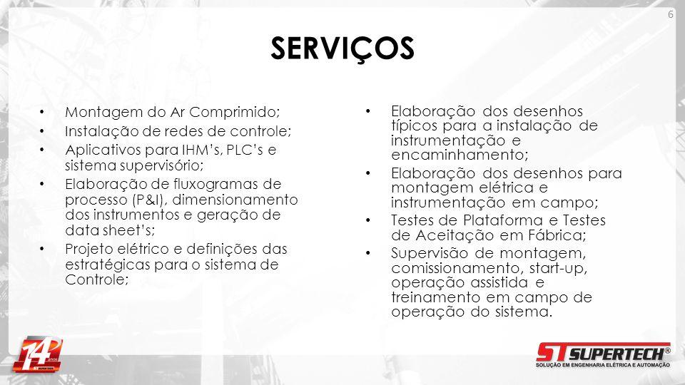 SERVIÇOS Montagem do Ar Comprimido; Instalação de redes de controle; Aplicativos para IHMs, PLCs e sistema supervisório; Elaboração de fluxogramas de