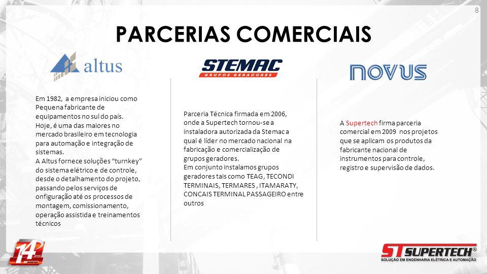 PARCERIAS COMERCIAIS A Supertech firma parceria comercial em 2009 nos projetos que se aplicam os produtos da fabricante nacional de instrumentos para