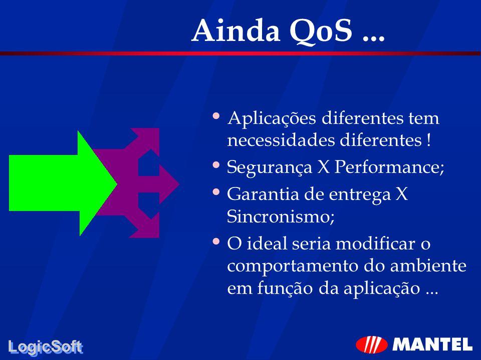 LogicSoft Ainda QoS... Aplicações diferentes tem necessidades diferentes ! Segurança X Performance; Garantia de entrega X Sincronismo; O ideal seria m