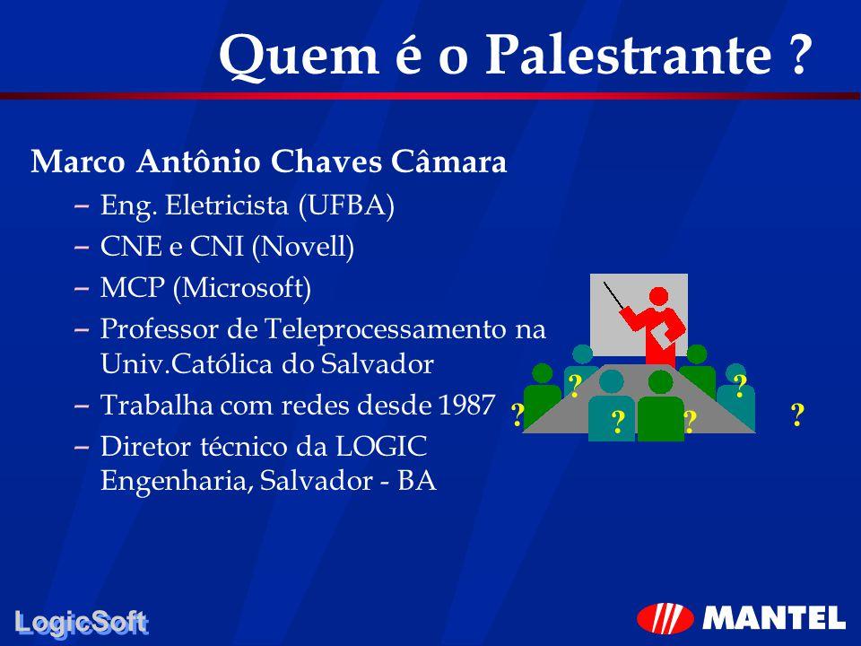 LogicSoft Quem é o Palestrante ? Marco Antônio Chaves Câmara – Eng. Eletricista (UFBA) – CNE e CNI (Novell) – MCP (Microsoft) – Professor de Teleproce