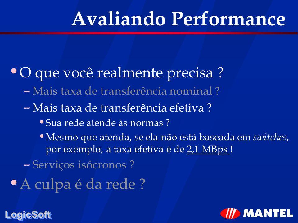 LogicSoft Avaliando Performance O que você realmente precisa ? – Mais taxa de transferência nominal ? – Mais taxa de transferência efetiva ? Sua rede