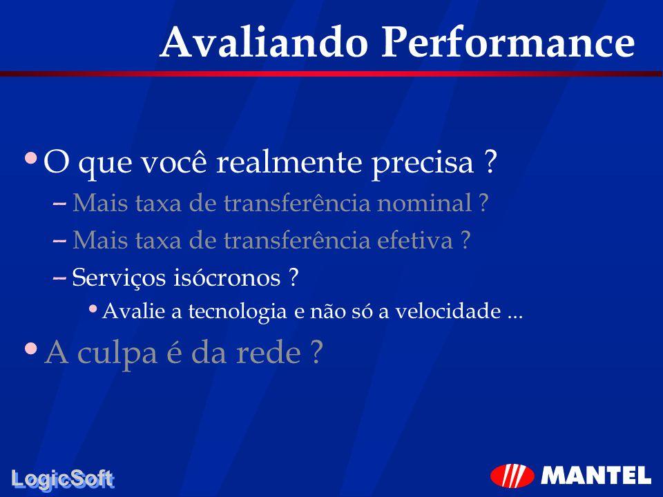 LogicSoft Avaliando Performance O que você realmente precisa ? – Mais taxa de transferência nominal ? – Mais taxa de transferência efetiva ? – Serviço