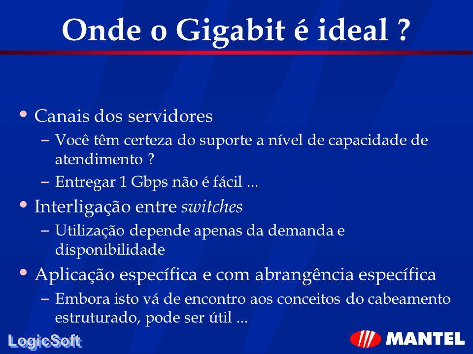 LogicSoft Onde o Gigabit é ideal ? Canais dos servidores – Você têm certeza do suporte a nível de capacidade de atendimento ? – Entregar 1 Gbps não é