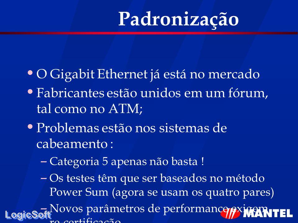 LogicSoft Padronização O Gigabit Ethernet já está no mercado Fabricantes estão unidos em um fórum, tal como no ATM; Problemas estão nos sistemas de ca
