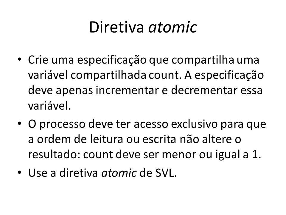 Algoritmo de seção crítica Substitua a diretiva atomic pelo algoritmo tie-breaker visto em aula: Verifique que a propriedade de count ser menor ou igual a 1 continua sendo satisfeita.