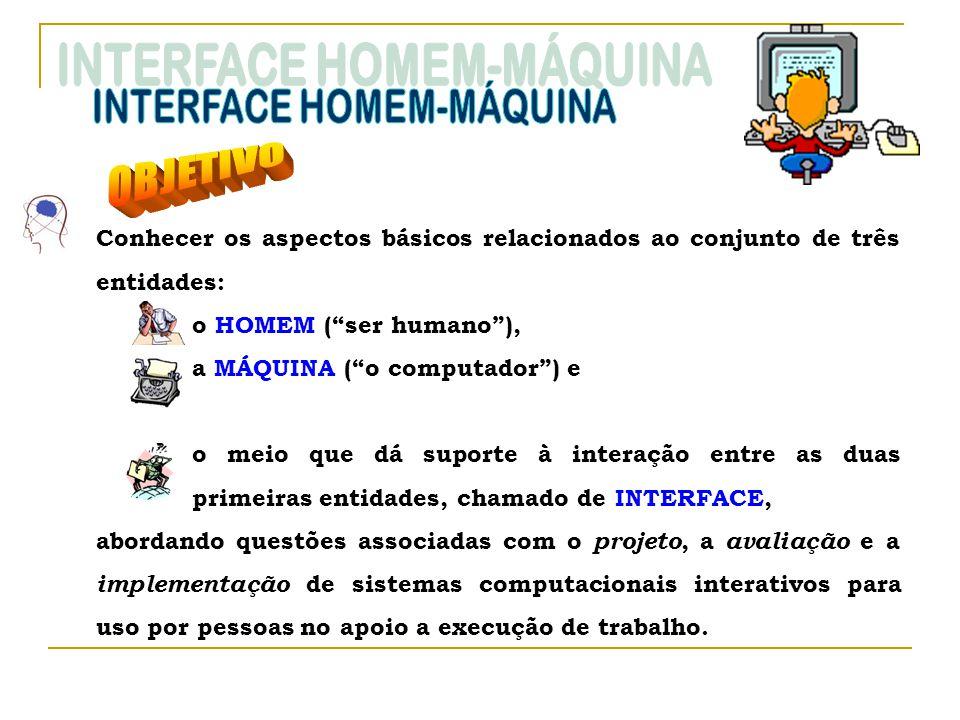 Conhecer os aspectos básicos relacionados ao conjunto de três entidades: o HOMEM (ser humano), a MÁQUINA (o computador) e o meio que dá suporte à inte