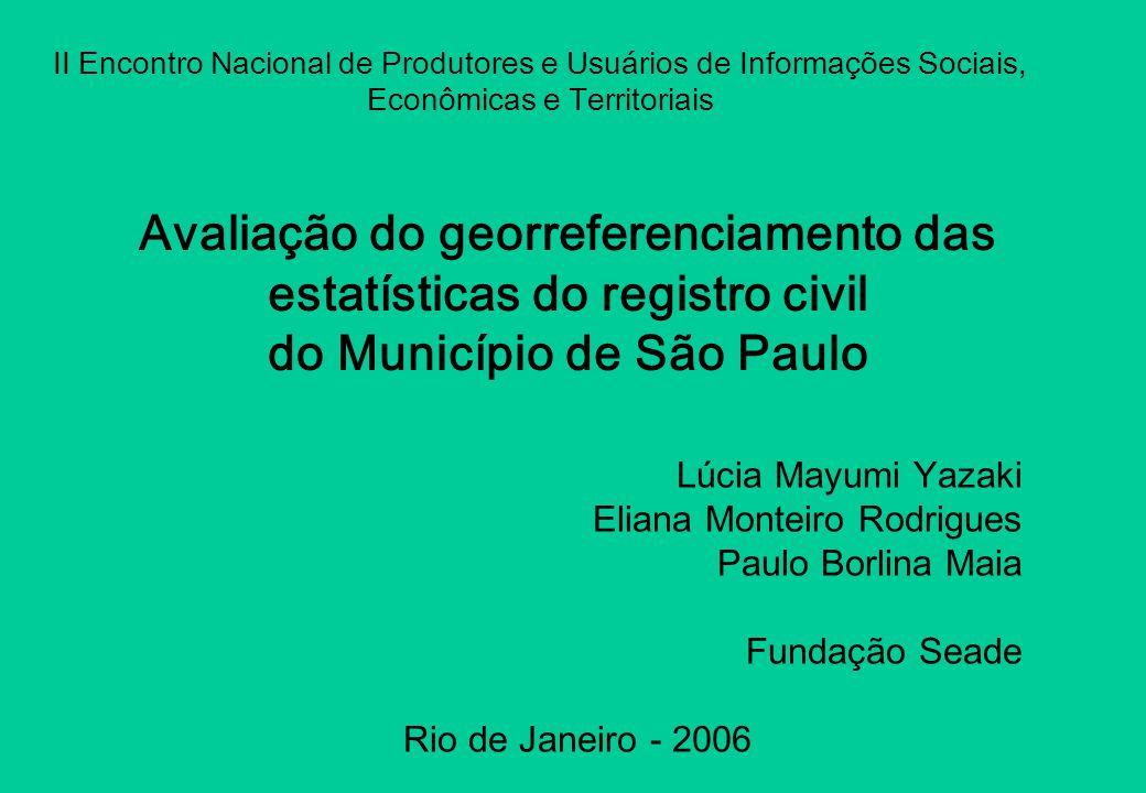 Avaliação do georreferenciamento das estatísticas do registro civil do Município de São Paulo Lúcia Mayumi Yazaki Eliana Monteiro Rodrigues Paulo Borl