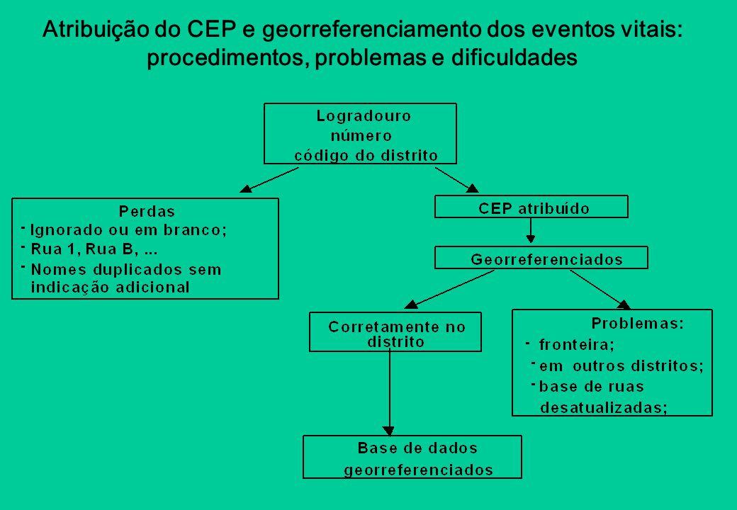 Atribuição do CEP e georreferenciamento dos eventos vitais: procedimentos, problemas e dificuldades