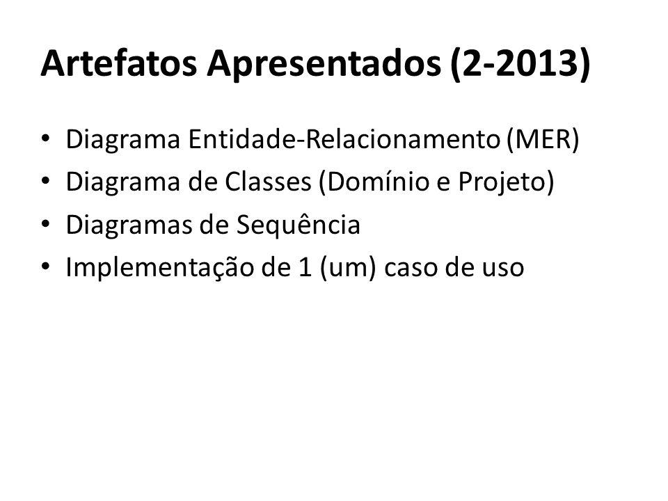 Diagrama Entidade-Relacionamento (MER) Diagrama de Classes (Domínio e Projeto) Diagramas de Sequência Implementação de 1 (um) caso de uso Artefatos Ap