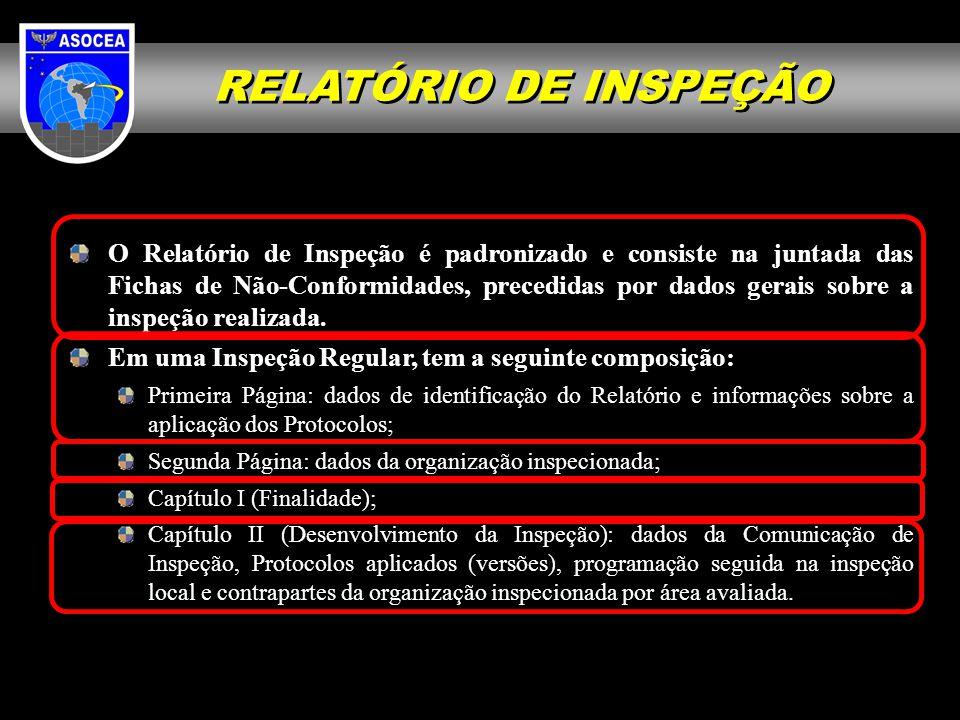 RELATÓRIO DE INSPEÇÃO O Relatório de Inspeção é padronizado e consiste na juntada das Fichas de Não-Conformidades, precedidas por dados gerais sobre a