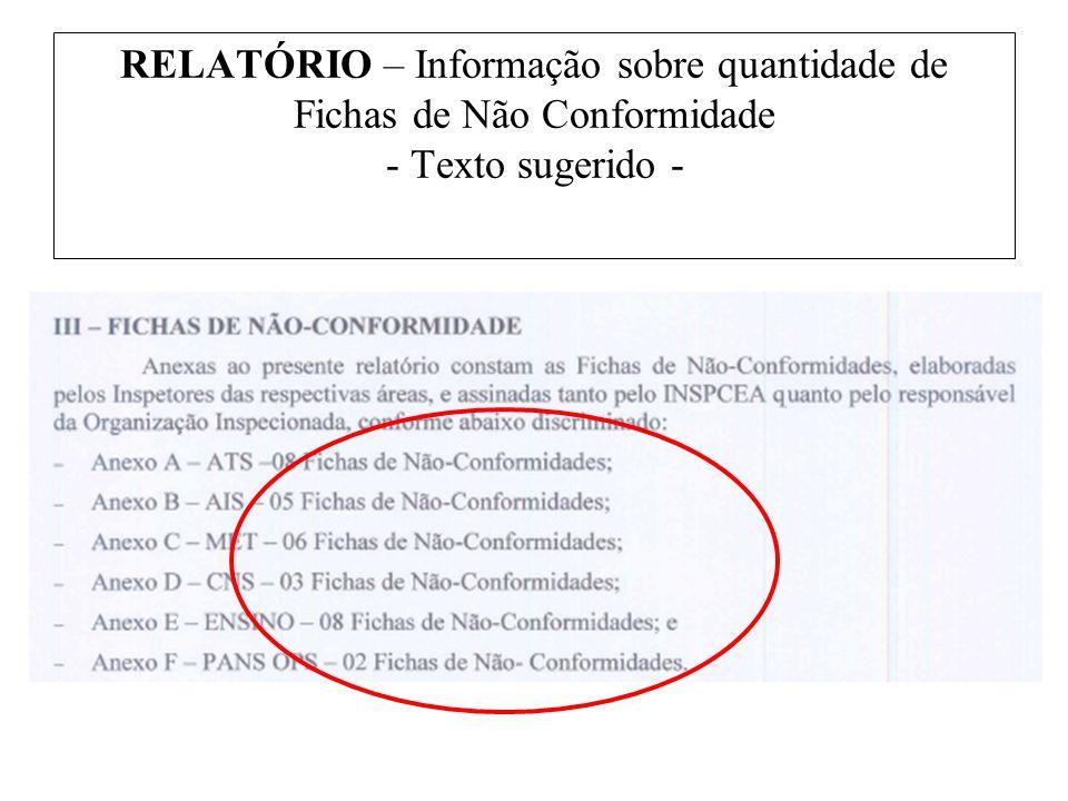 RELATÓRIO – Informação sobre quantidade de Fichas de Não Conformidade - Texto sugerido -