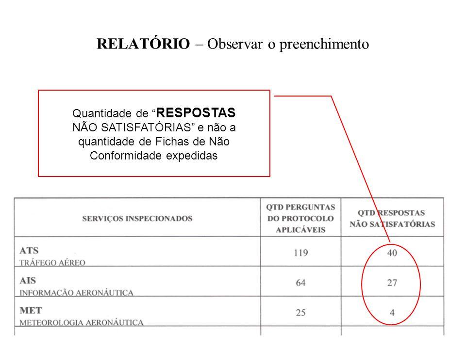 RELATÓRIO – Observar o preenchimento Quantidade de RESPOSTAS NÃO SATISFATÓRIAS e não a quantidade de Fichas de Não Conformidade expedidas