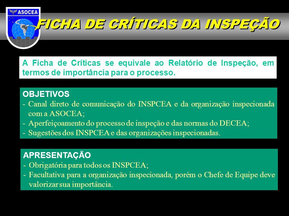 FICHA DE CRÍTICAS DA INSPEÇÃO A Ficha de Críticas se equivale ao Relatório de Inspeção, em termos de importância para o processo. APRESENTAÇÃO -Obriga