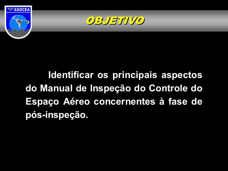 OBJETIVO Identificar os principais aspectos do Manual de Inspeção do Controle do Espaço Aéreo concernentes à fase de pós-inspeção.