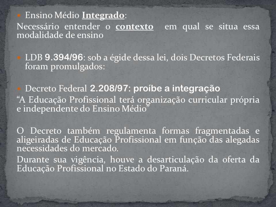 Ensino Médio Integrado: Necessário entender o contexto em qual se situa essa modalidade de ensino LDB 9.394/96 : sob a égide dessa lei, dois Decretos