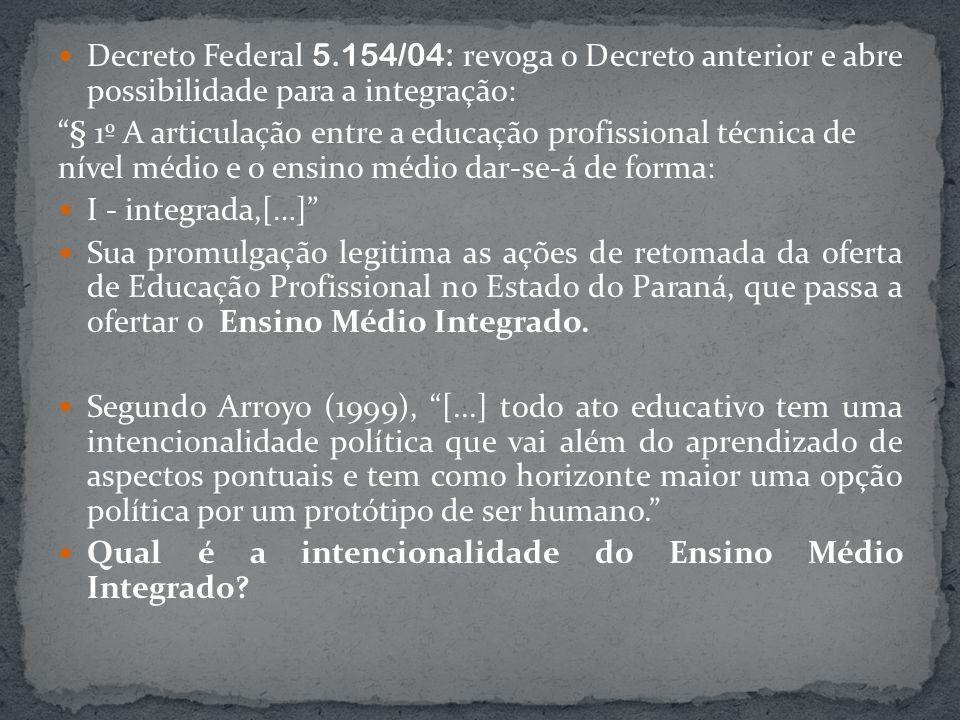 Decreto Federal 5.154/04: revoga o Decreto anterior e abre possibilidade para a integração: § 1º A articulação entre a educação profissional técnica d
