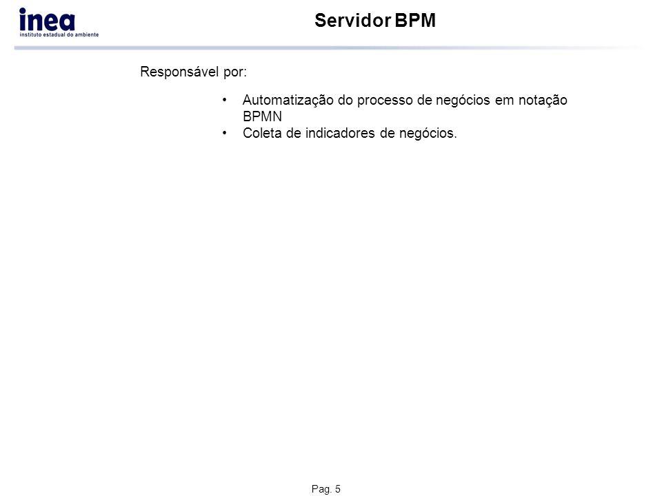Pag. 5 Servidor BPM Automatização do processo de negócios em notação BPMN Coleta de indicadores de negócios. Responsável por: