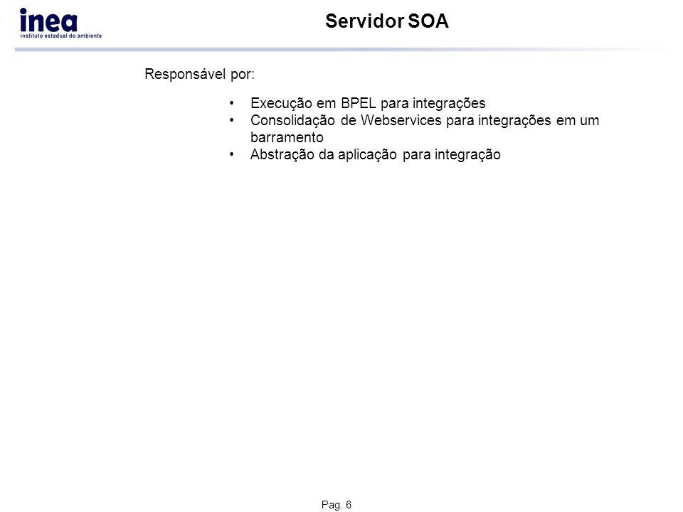 Pag. 6 Servidor SOA Execução em BPEL para integrações Consolidação de Webservices para integrações em um barramento Abstração da aplicação para integr