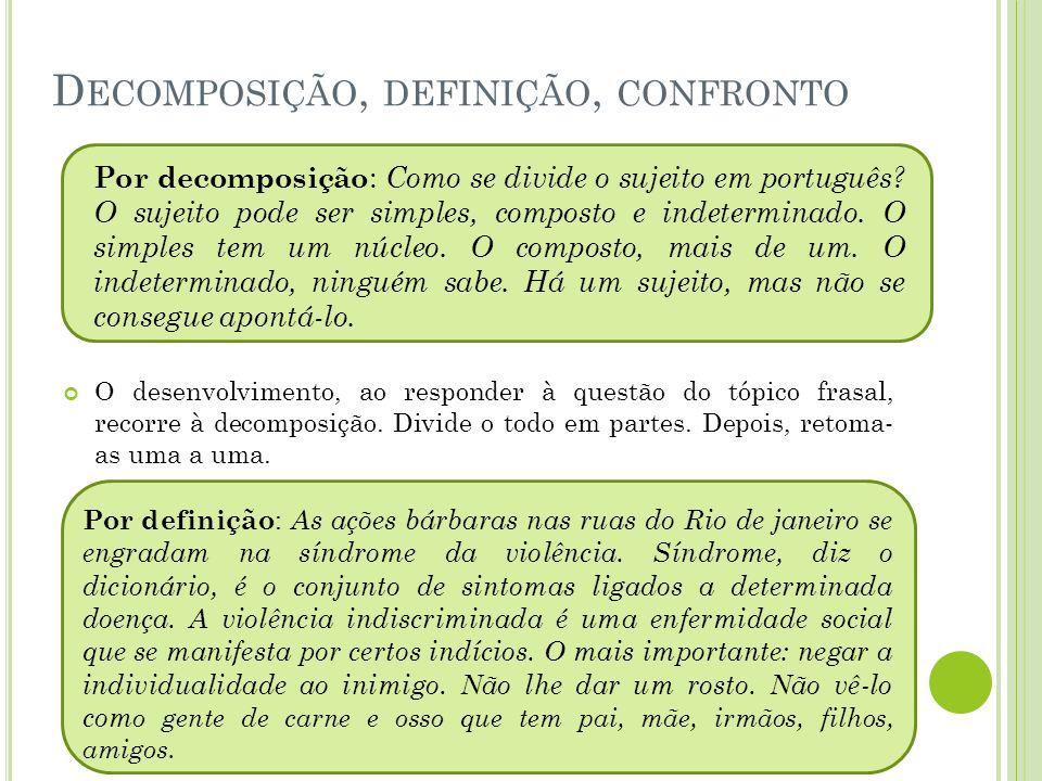 D ECOMPOSIÇÃO, DEFINIÇÃO, CONFRONTO O desenvolvimento, ao responder à questão do tópico frasal, recorre à decomposição.