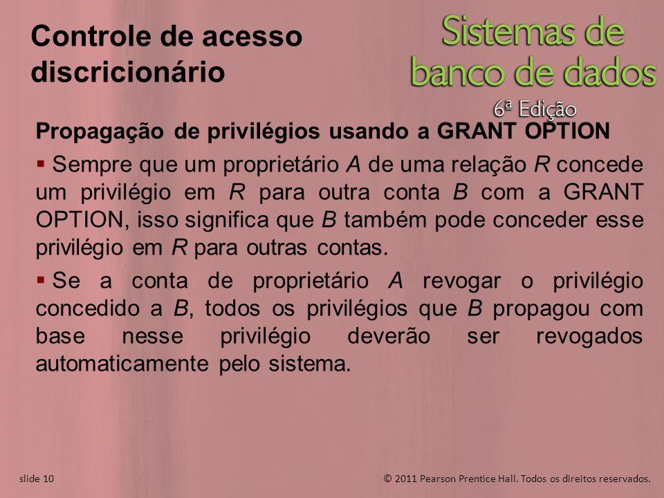 slide 10© 2011 Pearson Prentice Hall. Todos os direitos reservados. slide 10 Controle de acesso discricionário Propagação de privilégios usando a GRAN