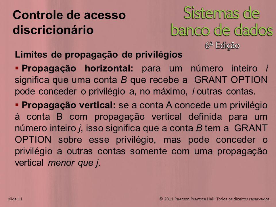slide 11© 2011 Pearson Prentice Hall. Todos os direitos reservados. slide 11 Controle de acesso discricionário Limites de propagação de privilégios Pr