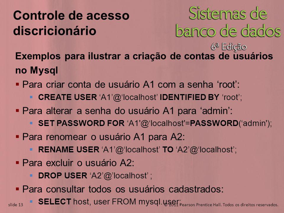 slide 13© 2011 Pearson Prentice Hall. Todos os direitos reservados. slide 13 Controle de acesso discricionário Exemplos para ilustrar a criação de con