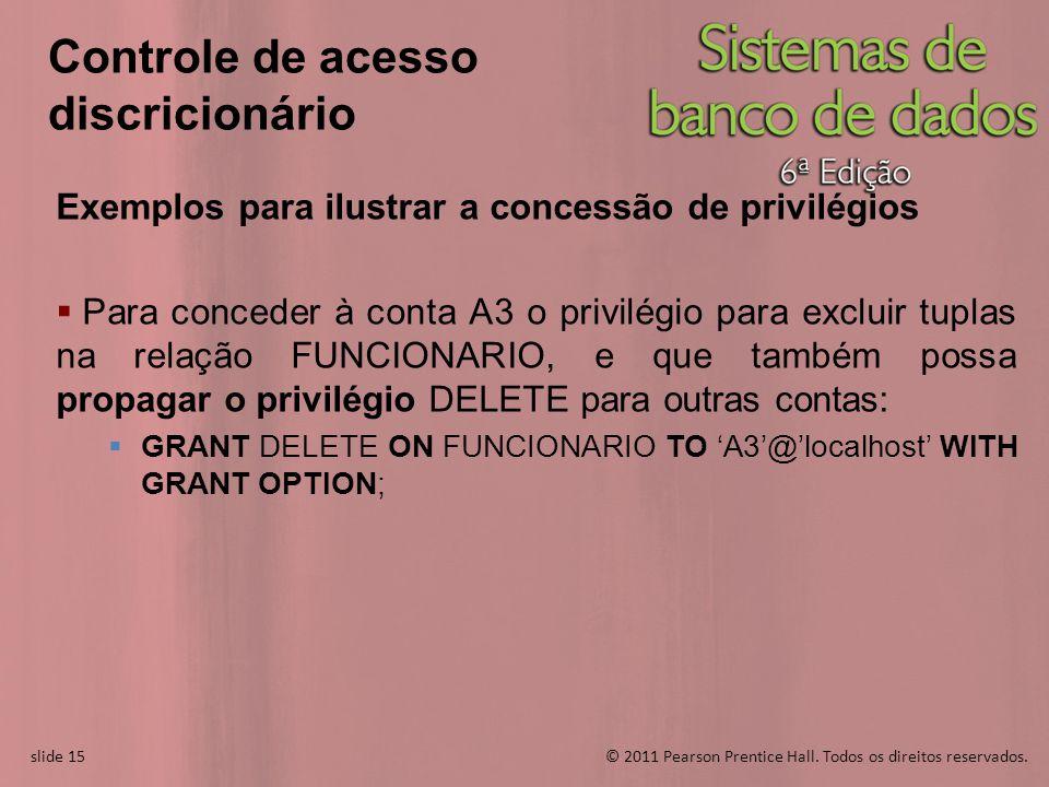 slide 15© 2011 Pearson Prentice Hall. Todos os direitos reservados. slide 15 Controle de acesso discricionário Exemplos para ilustrar a concessão de p