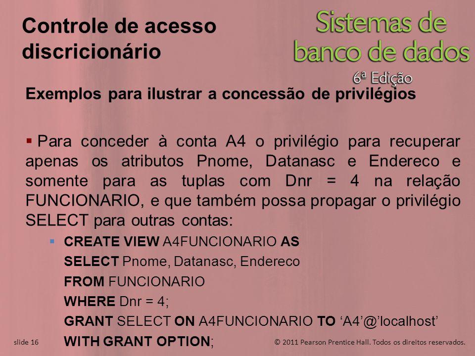 slide 16© 2011 Pearson Prentice Hall. Todos os direitos reservados. slide 16 Controle de acesso discricionário Exemplos para ilustrar a concessão de p